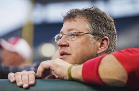 Rep. Bill Shuster, R-Pa., watches the 53rd Congressional Baseball Game from the Republican team dugout in Nationals Park, June 25, 2014. The Democrats prevailed over the Republicans 15-6 in a rained shortened game. (Tom Williams/CQ Roll Call File Photo)