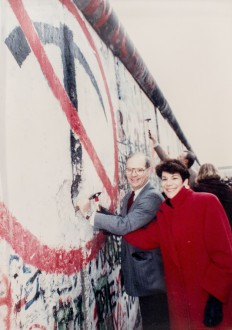 In this 1989 photo, Sen. Ben Cardin, D-Md., and his wife, Myrna Edelman Cardin, help knock down the Berlin wall, in Berlin, Germany, photographed during an interview in his office on Capitol Hill, Thursday, Feb. 25, 2016. (Photo By Al Drago/CQ Roll Call)