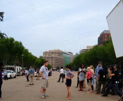 Chris Pratt and Aubrey Plaza in DC