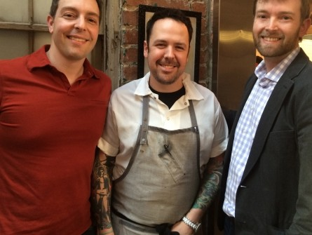 Frankly ... Pizza! founder Frank Linn, Rose's Luxury founder Aaron Silverman and filmmaker Dustin Harrison-Atlas pose for a friendly pic. (Courtesy Dustin Harrison-Atlas)