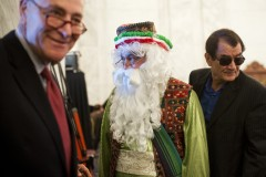 Schumer, left, and Nader Moavenian, center, who is dressed as