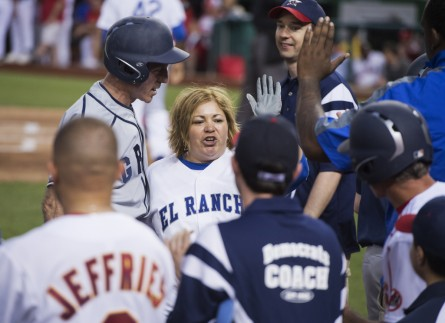 UNITED STATES - JUNE 13: Rep. Linda T. Sanchez, D-Calif., returns to her dugout during the Congressional Baseball game where the Democrats beat the Republicans 22-0 at Nationals Park. (Photo By Tom Williams/CQ Roll Call File Photo)