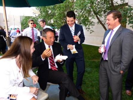 Rep. Mark Sanford munches on a tube steak during the annual hot dog lunch on the Hill. (Courtesy Team Sanford)