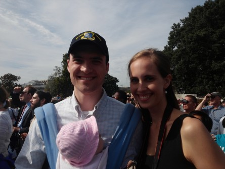 Peter and Carly Donohue, shown with their infant daughter, arrived bright and early on the West Front for Pope Francis' speech to Congress. (Warren Rojas/CQ Roll Call)