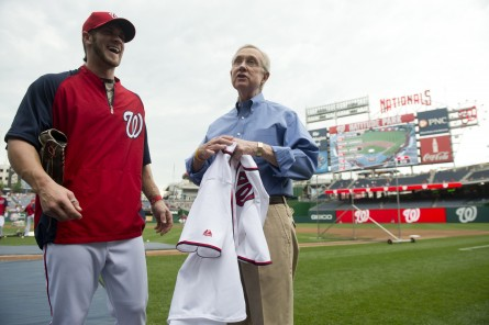 Washington Nationals star Bryce Harper, left and Senate Majority Leader Harry Reid hang out at Nationals Park last year shortly after Harper's call up to the majors. (Bill Clark/CQ Roll Call.)