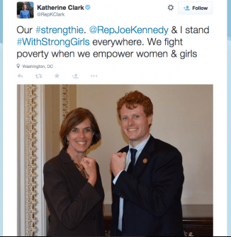 Clark and Kennedy team up: twice the power in one #strengthie (Courtesy Twitter)