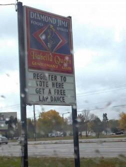 Strip club voter drive