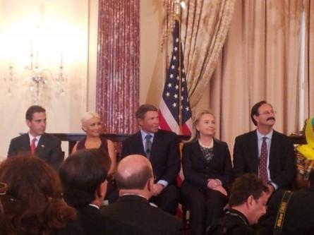 Christina Aguilera accepting George McGovern prize