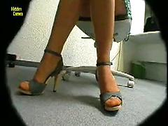 Hidden Camera Shows A Sexy Chick At The Office Hidden cams reality