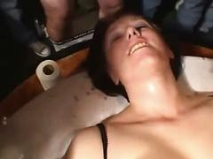 Group Of Men Stick Their Cock One At A Time In A Womans Mouth Facial gangbang group orgy