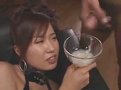 Beautiful Japanese Girl Drinks Semen From Wine Glass Asian cum eating cum swallowing
