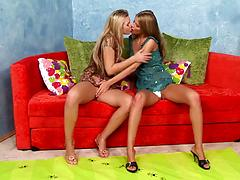Tall skinny lesbian girls smack each other's delicious cunts Blondes fingering panties