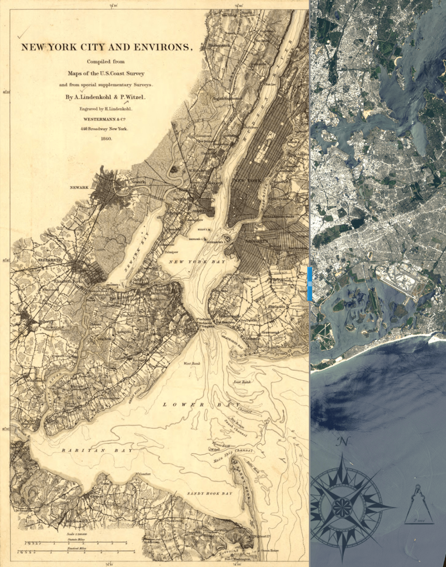 Check Out This Vintage Map of New York City From 1860 Overlaid With     1860 New York City Map vs  2013 NASA Satellite Photo