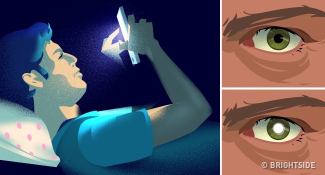 Using a smartphone before going to bed