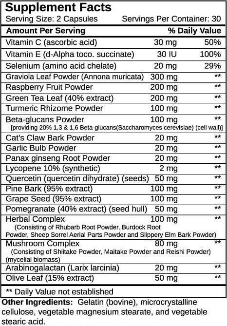 Immune Support Supplement Facts