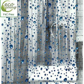 Bubbles Clear Childrens PEVA Shower Curtain With Blue Bubble Design