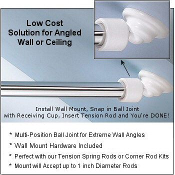 Angled Shower Rod Wall Mount Low Cost Sloped Or Angled Wall Shower Rod Solution