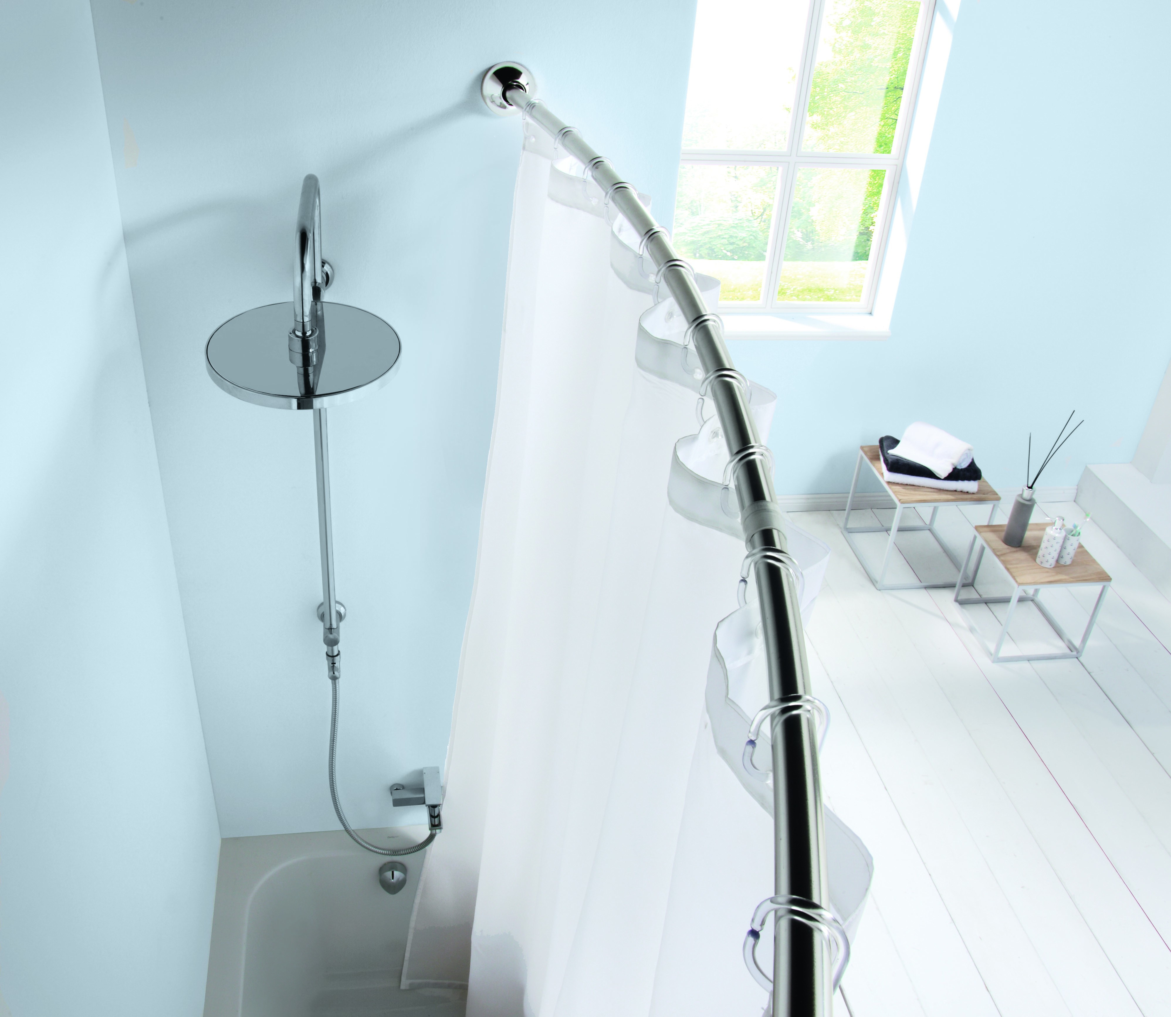 Curved Rods For Shower Curtains Aluminum And Chrome Shower