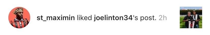 OGC Nice Saint-Maximin likes Joelinton Newcastle arrival Instagram pic