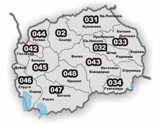 Macedonian area codes.