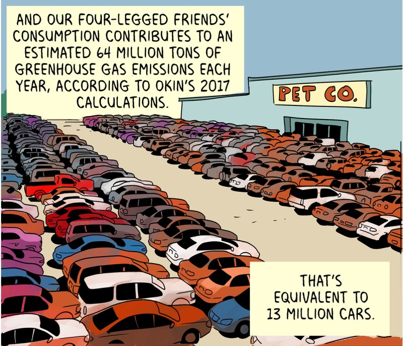 And our four-legged friends' consumption contributes to an estimated 64 million tons of greenhouse gas emissions each year, according to Okin's 2017 calculations. That's equivalent to 13 million cars.