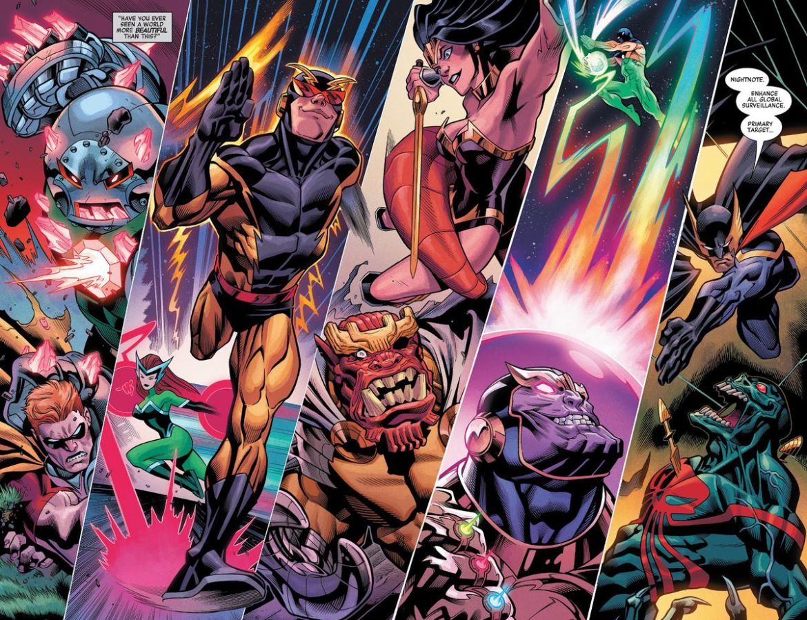The Squadron Supreme take on merged supervillains Doctor Juggernaut, the Silver Witch, the All-Gog, Thanos and his Infinity Rings, and the Black Skull, in Heroes Reborn #1, Marvel Comics (2021).