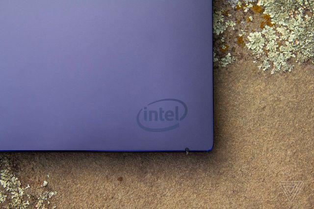 A corner of Intel's Tiger Lake reference design, showing the Intel logo.
