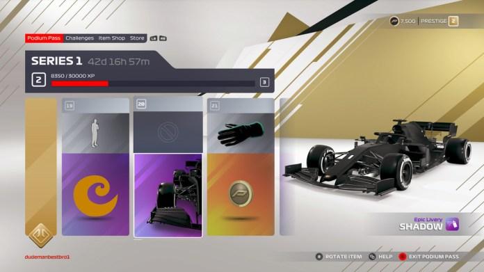 ekran pokazujący przedmioty odblokowane na poziomach 19, 20 i 21 przepustki na podium F1 2021