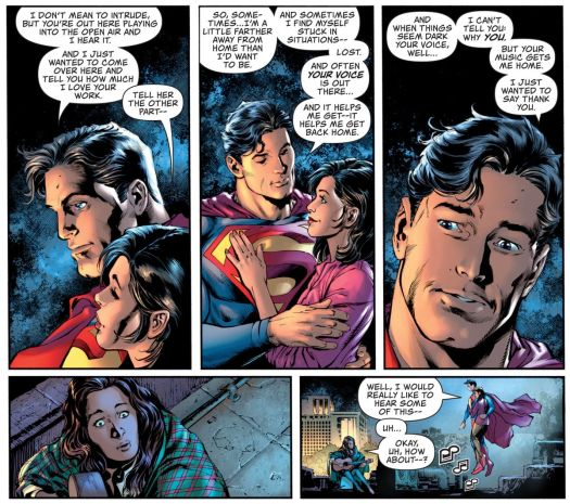 """Superman and Lois Lane visit a woman playing guitar on her Metropolis rooftop. Superman tells her that he can often hear her with his super hearing, and that her playing has helped him. """"Sometimes I find myself stuck in situations — lost. And often your voice is out there... and it helps me get —it helps me get back home,"""" in Superman #28, DC Comics (2020)."""