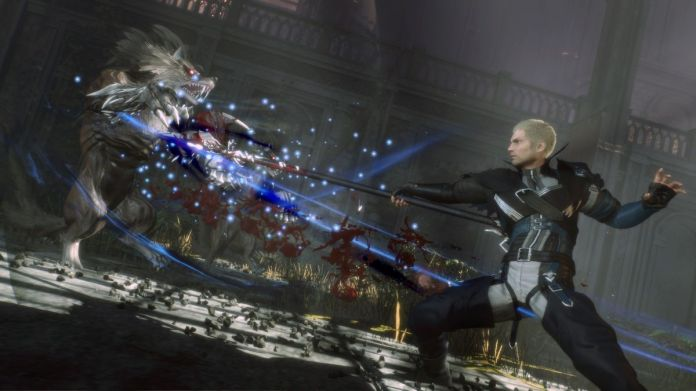 Jack, the protagonist of final fantasy origin stabbing a monster with a spear