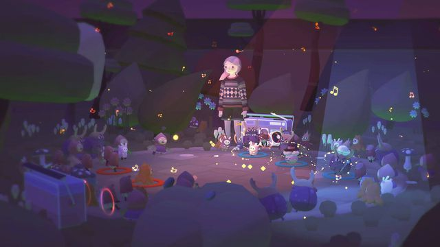 Ooblets - A girl with pink hair in a dark forest clearing, where lots of little creatures are holding a dance party.