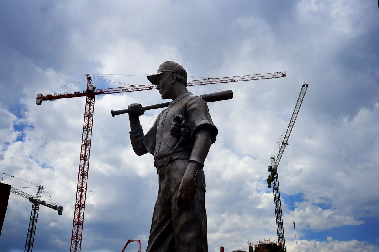 Baseball player statue in Denver, Colorado USA