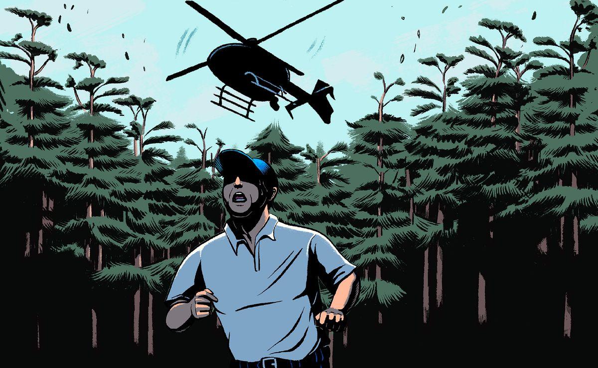 Illustration d'un homme essoufflé qui court à travers les bois alors qu'il était poursuivi par un hélicoptère.