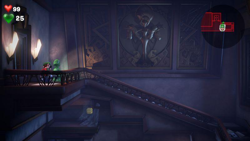 Luigi s Mansion 3 B1 service stairwell  yellow gem  2 - Luigi's Mansion 3 - Guida: come trovare tutte le gemme dei piani B2 e B1