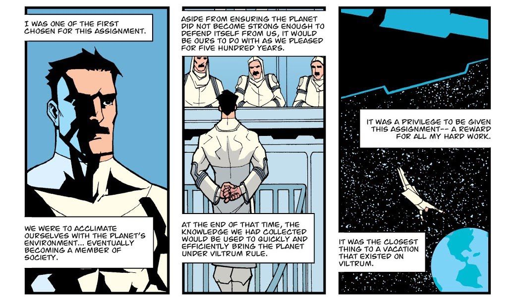 """A series of comics panels explains Nolan's assignment, to infiltrate Earth and """"do with [it] as he pleased"""" for 500 years."""