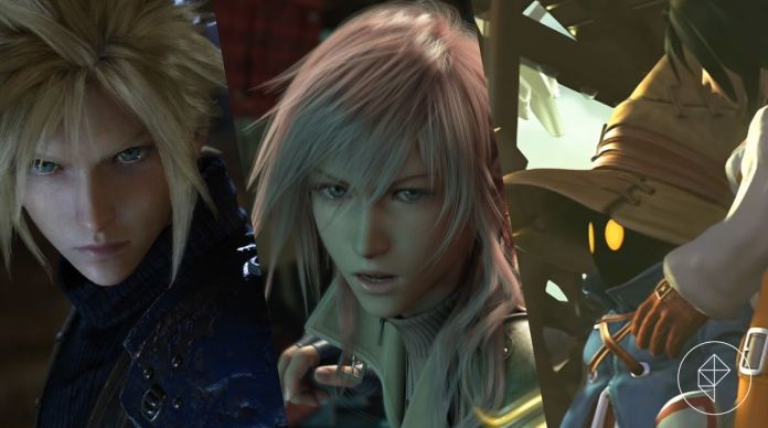 Three Final Fantasy characters: Cloud, Lightning, and Vivi