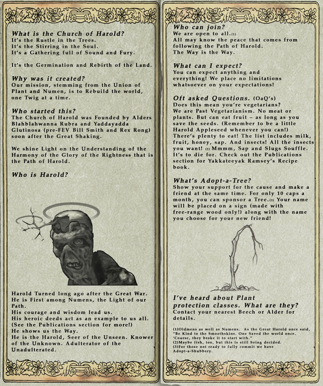 Fallout Online newsletter Church of Harold brochure