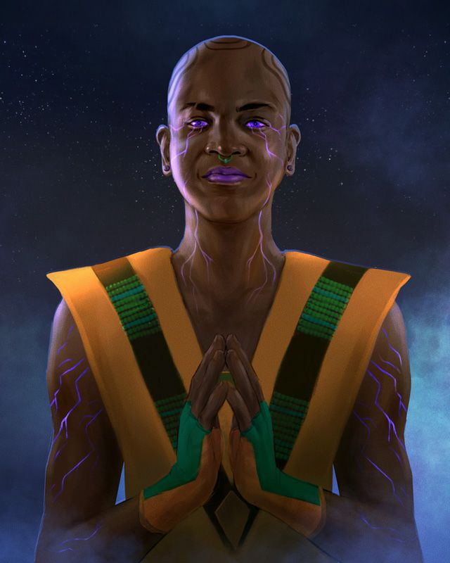 A Black man wearing yellow and green vestments, his body marked with purple glowing lines.