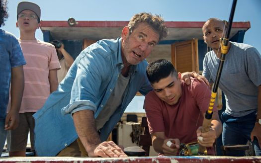 Anthony Gonzalez as Geco, Dennis Quaid as Captain Wade Malloy, Miguel Angel Garcia as Moco, Jimmy Gonzales as Omar in Blue Miracle.