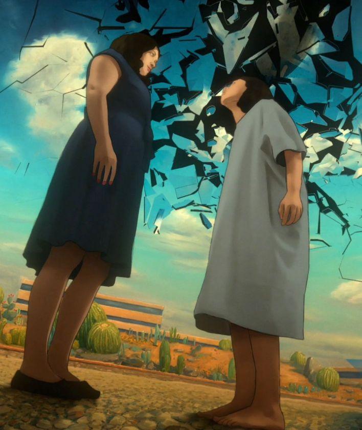 alma et sa mère se tiennent devant un hôpital alors que le ciel se brise en éclats comme du verre à Undone