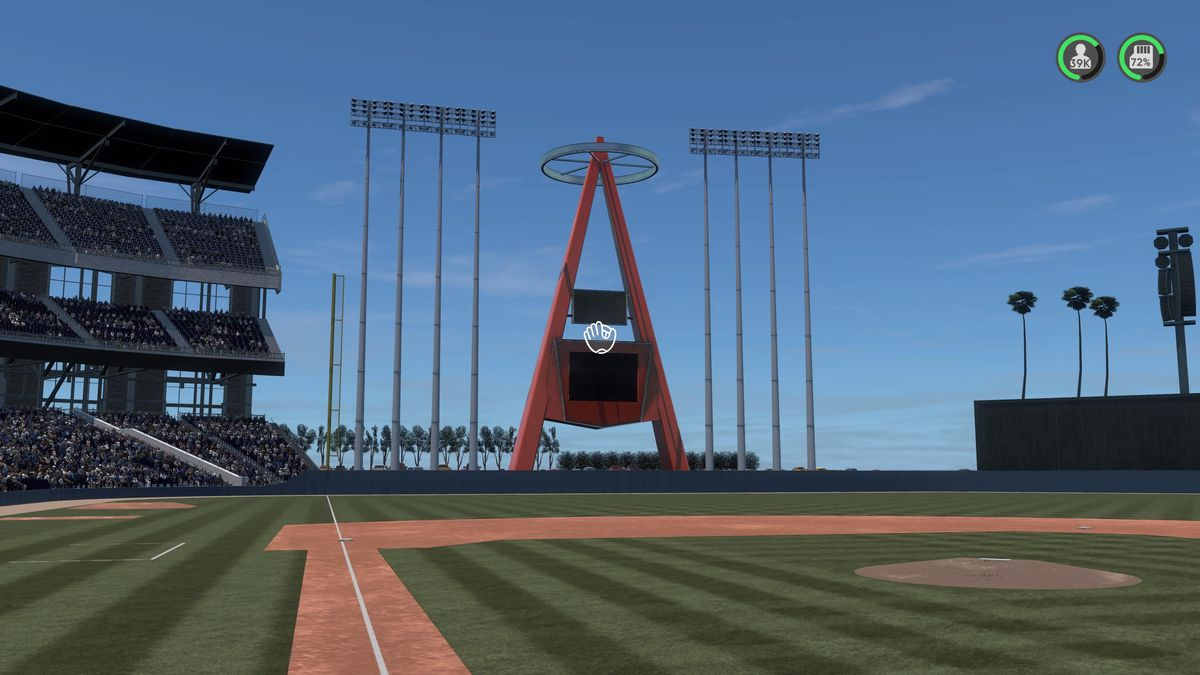 "Left field, and Anaheim Stadium's famous ""Big A"" scoreboard, as created in MLB The Show 21 by a fan"