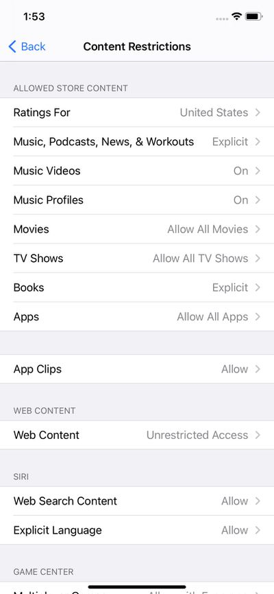 You can restrict the content of various apps based on ratings or explicitness.