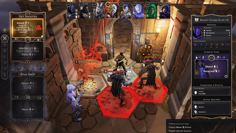 Several mercenaries in Gloomhaven square off against a dungeon's enemies