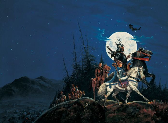 The wraparound cover for The Eye of the World, the first book in The Wheel of Time series.