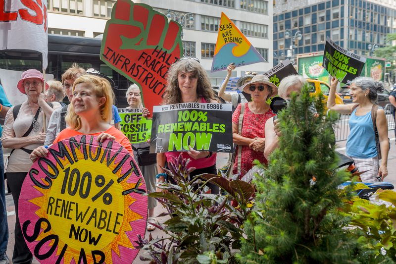 GOVERNOR CUOMO'S MANHATTAN OFFICE, NEW YORK, UNITED STATES - 2018/08/16: A large crowd of New York climate leaders organized a rally outside Cuomo's Manhattan office on August 16, 2018, calling on him to stop fossil fuel infrastructure and shift New York
