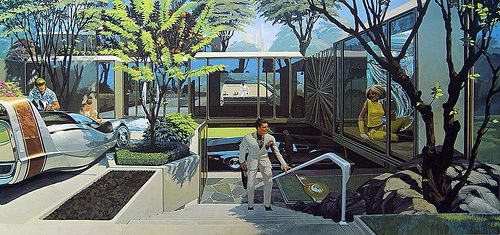 An artist's illustration of a modernist home, with glass walls and a futuristic white car parked in the front.