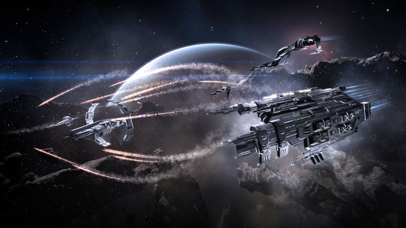 Three pursuing capital ships fire missiles at someone fleeing the battle.