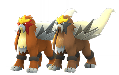 Entei and its Shiny form in Pokémon Go