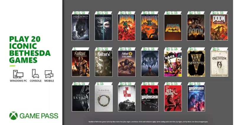 20 Bethesda games will be available on Xbox Game Pass Friday