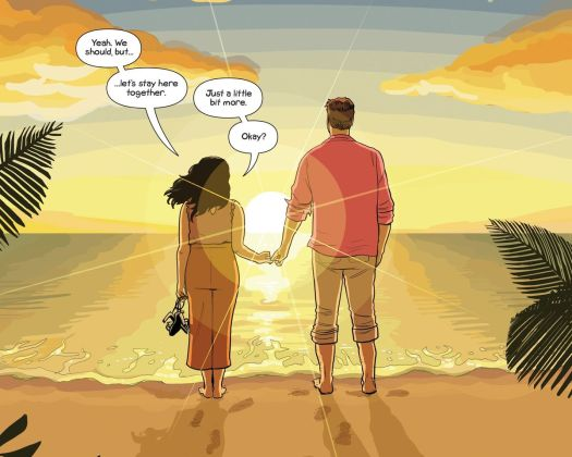 Suzie and Jon stand on the beach at dawn, pinkies linked, in Sex Criminals #69, Image Comics (2020).